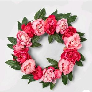 Peony wreath by threshold